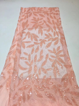 Latest Pink Sequins Lace Fabric 2019 High Quality Nigerian Lace Fabrics with Sequins African Lace Fabric for Wedding ZX31751
