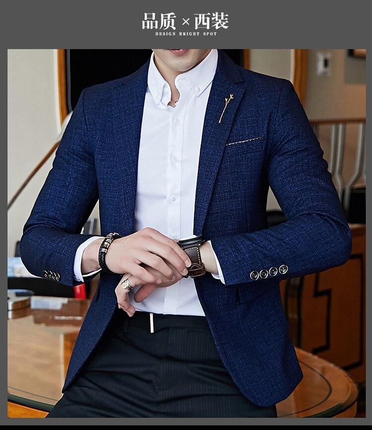 Hb0c86ea5095c43b1bf0b69ca13a6fffbD - Striped Blazer Mens Slim Fit Blazer Slim Masculino Business Casual Mens Stylish Blazer Spring Autumn Dot  Striped Blazers Mens
