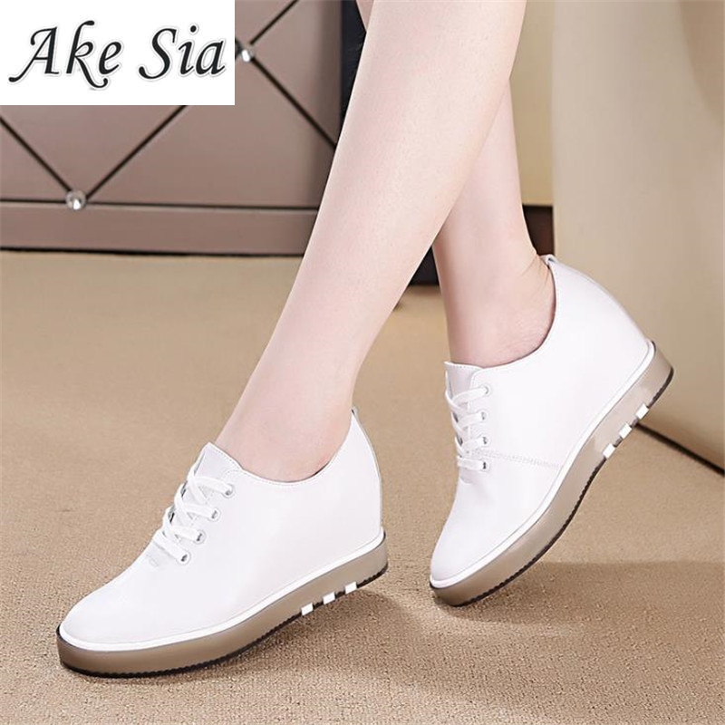 Increased white shoes female spring autumn 2019 wild wedge with casual shoes travel breathable women Comfortable casual shoes