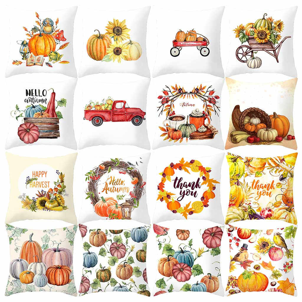 2019 New Fall Pumpkin Throw Pillow Case Print Decorative Pillows Cover For Sofa Seat Cushion Cover 45x45cm Home Decor