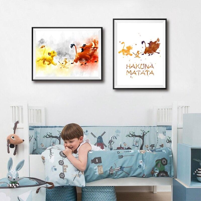 主图_Hakuna_Matata_Watercolor_Print_Wall_Art_Pumbaa_Timon_Simba_Canvas_Poster_The_Lion_King_Art_Painti (3)