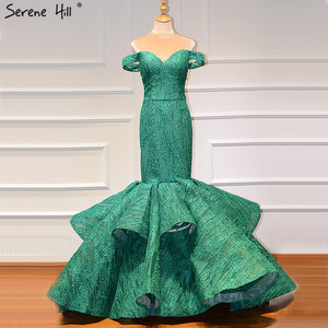 Image 1 - Green Off Shoulder Sexy Vintage Wedding Dresses 2020 Mermaid Sleeveless Sequined Bridal Gowns Real Photo BHM66614