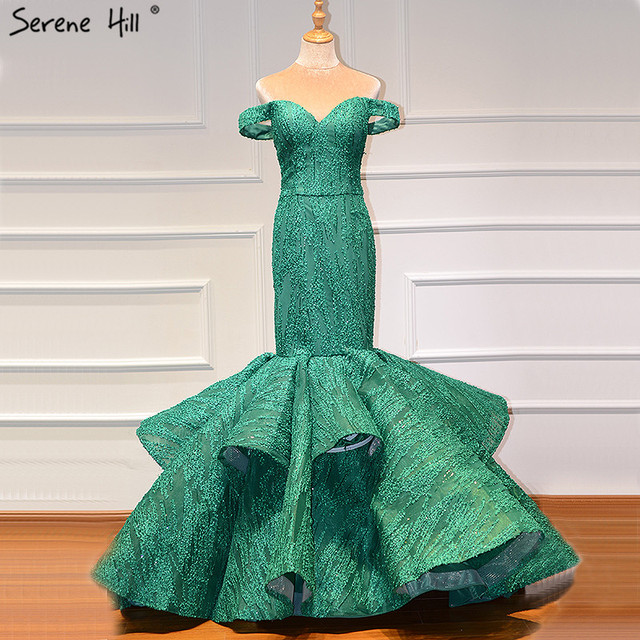 Green Off Shoulder Sexy Vintage Wedding Dresses 2020 Mermaid Sleeveless Sequined Bridal Gowns Real Photo BHM66614