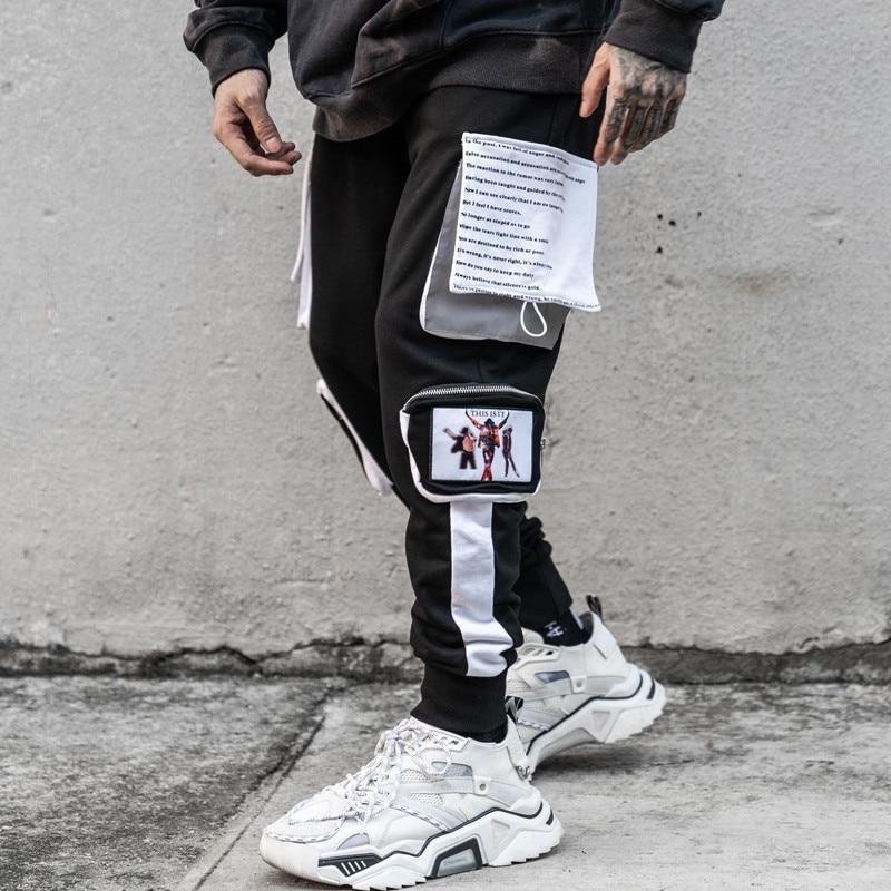 11 BYBB'S DARK Men's Harem Pants Hip Hop Streetwear Sweatpants Men Reflective Pocket Patchwork Trousers Male Color Block XN59