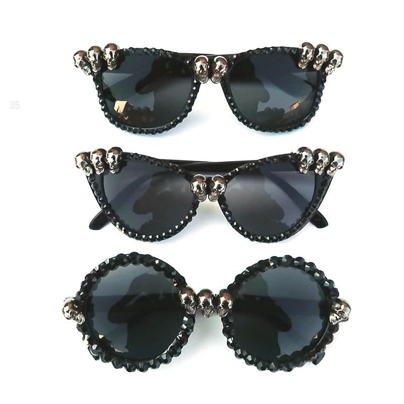 Women Gothic Black Cat Eye Skull Sunglasses Rhinestone Gorgeous Cateye Ladies Round Sun Glasses Dropshipping Vintage Eyewear