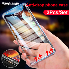 2PCS Silicone Case For iPhone 6 6S 6plus Protective Case For iPhone 6plus 6S Shockproof Silicone TPU Soft Transparent Back Co стоимость