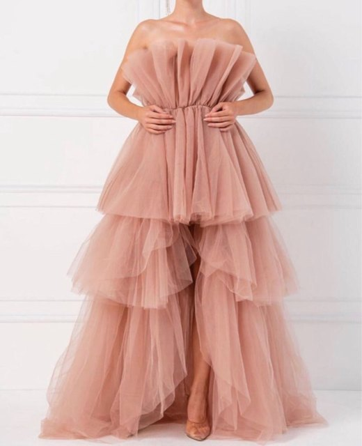 Hot Discount 41552 Pretty Unique Pink High Low Tulle Prom Dresses 2020 Ruffles Tiered Long Tulle Prom Gowns Off The Shoulder Abendkleider Cicig Co