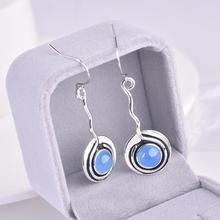 New creative lollipop earrings women European and American retro inlaid blue stone vintage silver party