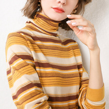 LHZSYY 2019Autumn Winter New Women Knit Bottoming shirt High Collar Striped Sweater Soft Loose Pullover Fashion Wild Blouse