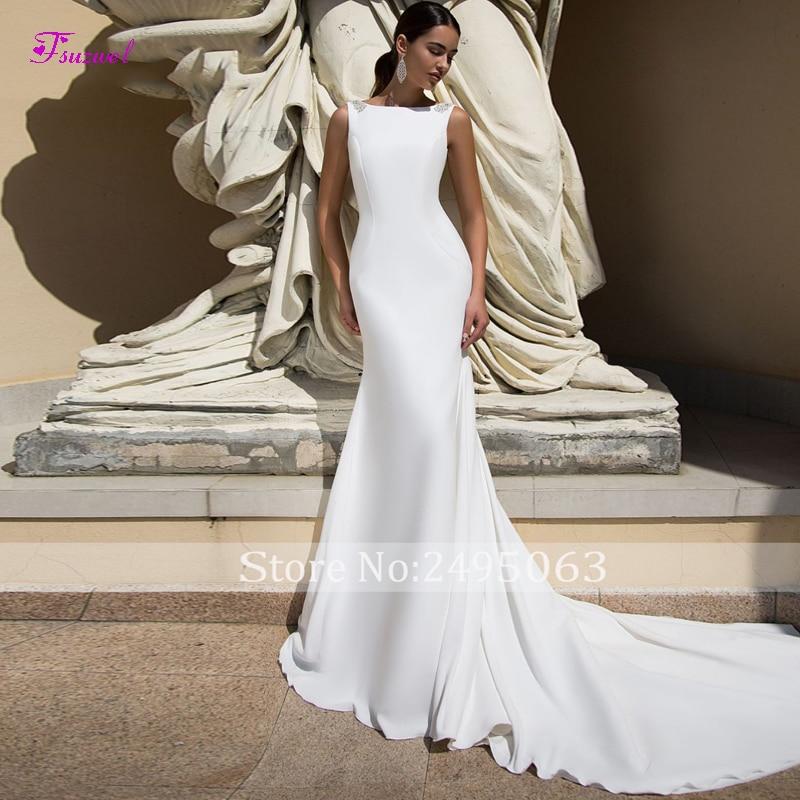 Fsuzwel Graceful Soft Satin Court Train Mermaid Wedding Dresses 2019 Scoop Neck Backless Princess Bridal Gown Vestido De Noiva