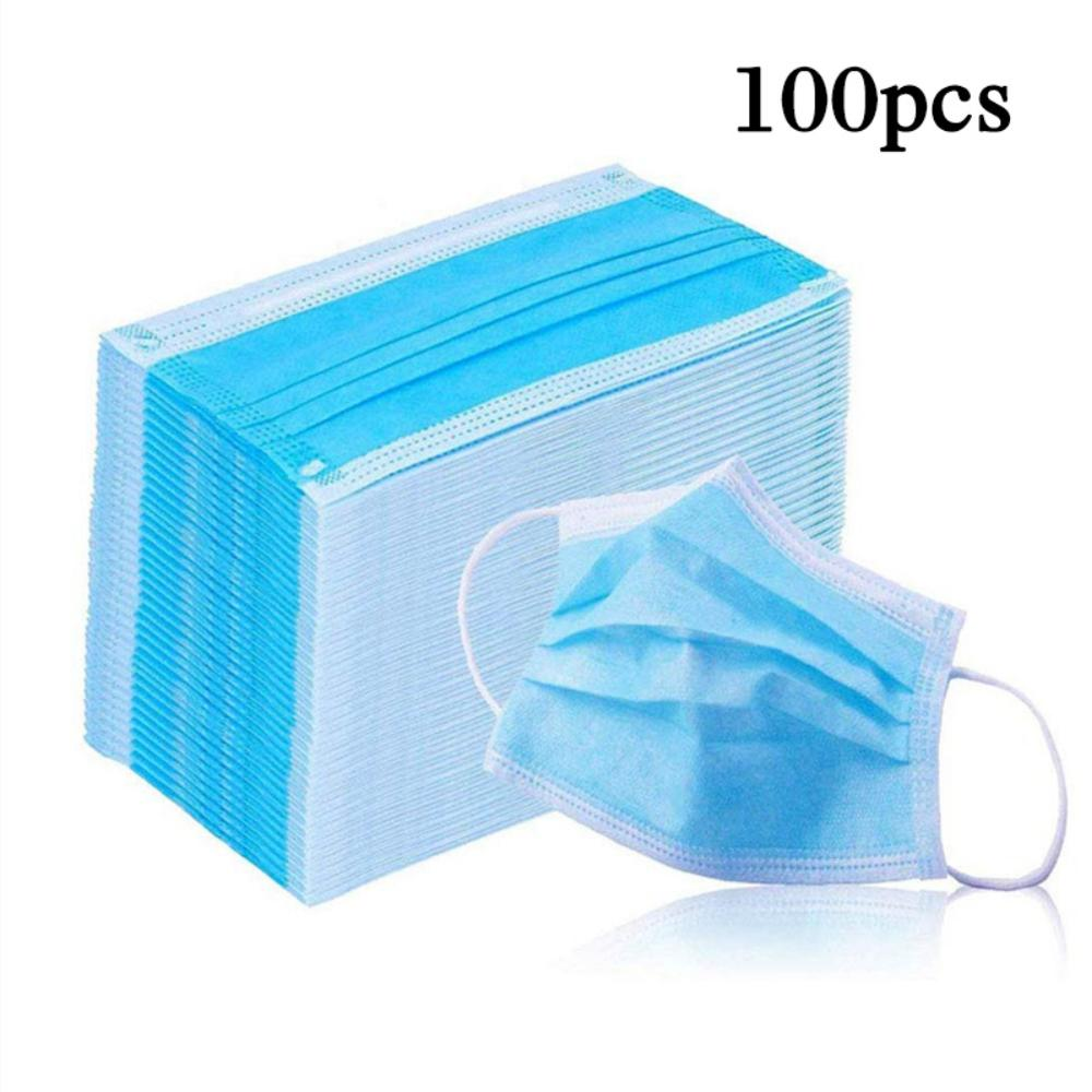 100Pcs Masks 3-Layer Anti Dust Breathable Comfortable Earloop Mouth Face Protection