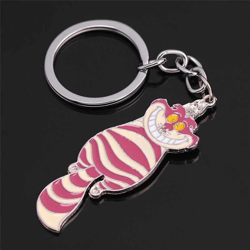 ภาพยนตร์ Alice in Wonderland พวงกุญแจโลหะ Cheshire Cat Enamel Keyring Key แหวนแฟชั่นการ์ตูนพวงกุญแจสำหรับกระเป๋ารถ