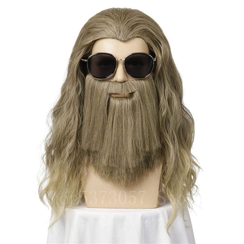 Us 18 62 39 Off Halloween Fancy Cosplay Avengers 4 Endgame Movie God Of Thunder Thor Odinson Wigs And Beard Party Carnival Hair For Man On