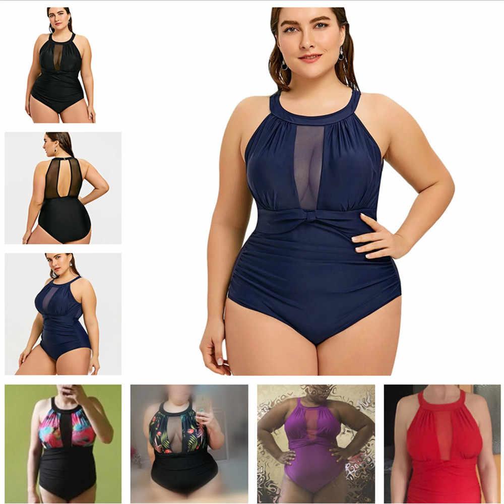 One Piece Swimsuit Plus Ukuran Besar Wanita 2019 Wanita Baju Renang Stroj One-Piece Collar Ba Wanita Besar untuk gemuk Berenang Memakai Badpak