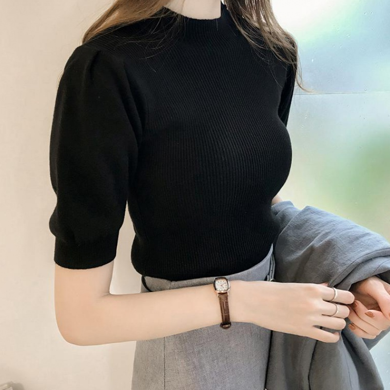 Half Turtleneck Knitted T-shirts Tops Woman Slim Short Puff Sleeve Buttons Soft Solid Autumn T-shirt Tee Female 3
