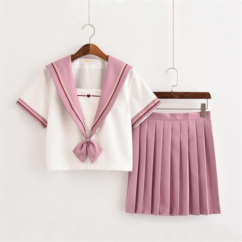 Pink&White Japanese Schoolgirl Uniform Cosplay Costume JK Uniforms Sailor Suits Soft Sister Kansai Lapel Pure Female Students