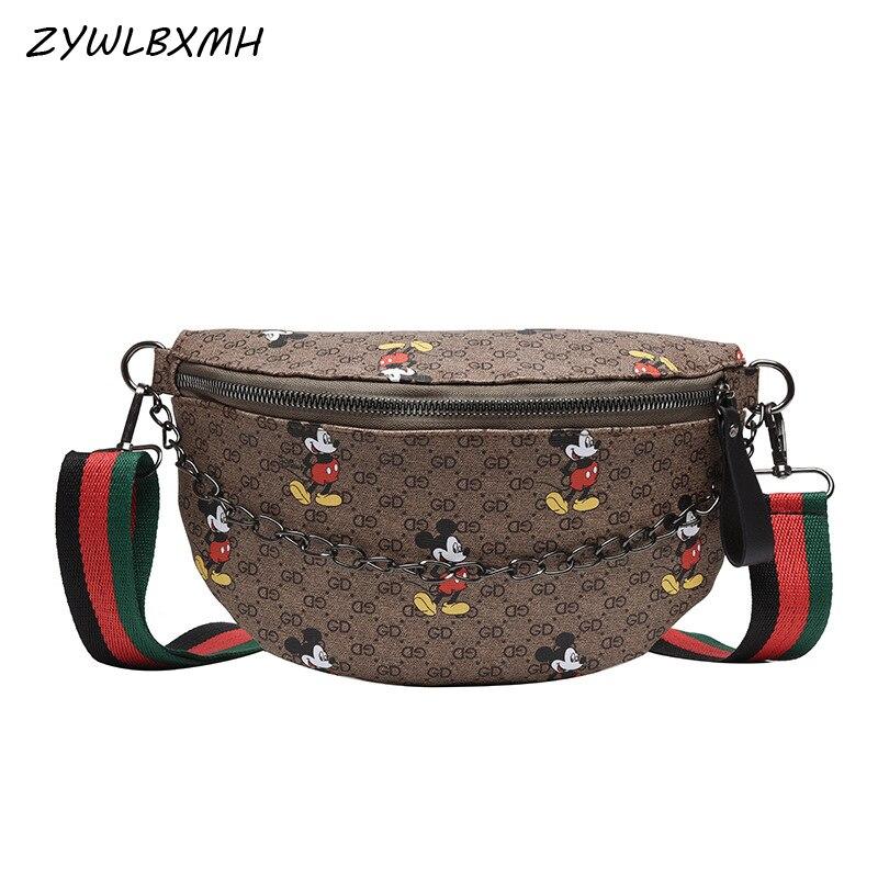 ZYWLBXMH Mickey Waist Packs Chain Waist Bag Women's Fanny Pack Solid Color Belt Bag Waterproof PU Leather Chest Bag Banana Bag