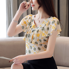 Blusas femininas shirt 2019 ladies tops short sleeve V-neck chiffon blouses Ruffles Floral Butterfly Sleeve solid clothes 0219