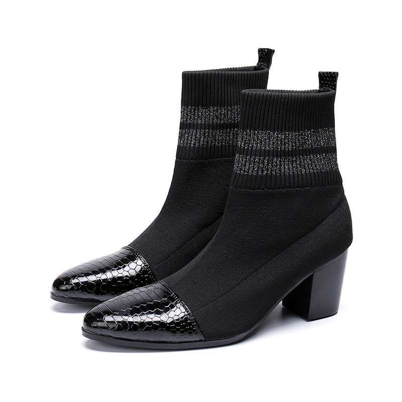 New Style Black Slip-on Ankle Boot Fashion Mid Heel Socks Shoes Pointed Toe Martin Boots Men Size 38-46
