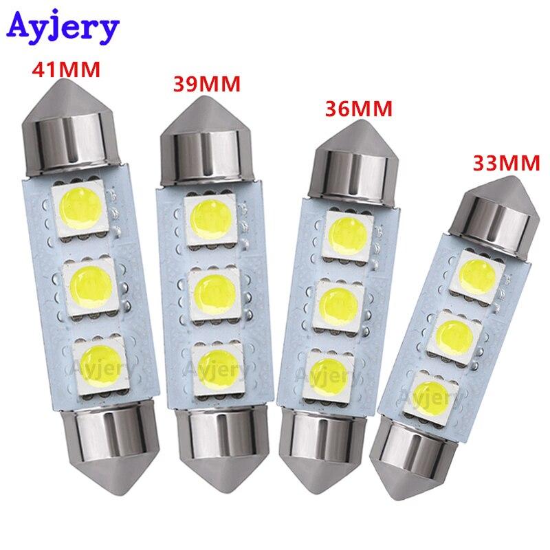 AYJERY Wholesale C5W 500pcs White 5050 3 SMD 36mm 39mm 41mm Festoon Dome LED Light Bulbs