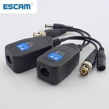ESCAM 1 пара (2 шт.) Пассивный CCTV коаксиальный BNC Power видео балун трансивер разъемы к RJ45 BNC male для видеокамеры видеонаблюдения