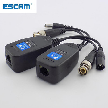 ESCAM 1 Pair(2pcs) Passive CCTV Coax BNC Power Video Balun Transceiver Connectors to RJ45 male for video Camera - discount item  35% OFF Transmission & Cables
