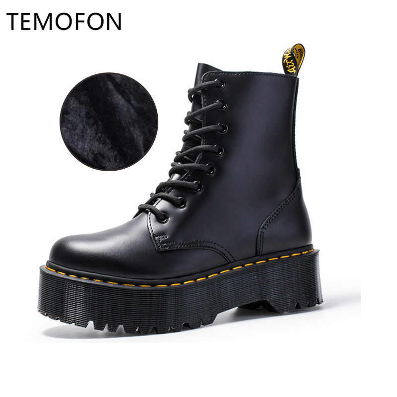 Woman Leather Boots Winter Platform Martin Boots Autumn Winter Black Motorcycle Boots Thick Winter Shoes Ladies HVT444