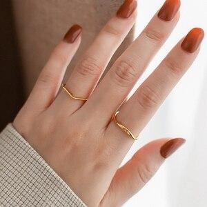 YUN RUO модное тонкое волнистое Золотое кольцо на палец желтое золото женский подарок титановая сталь ювелирные изделия из нержавеющей стали ...