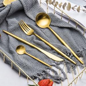 Image 2 - 로즈 골드 식기 세트 스테인레스 스틸 칼 붙이 세트 서양 식기 럭셔리 포크 티스푼 나이프 칼 세트 포크 스푼