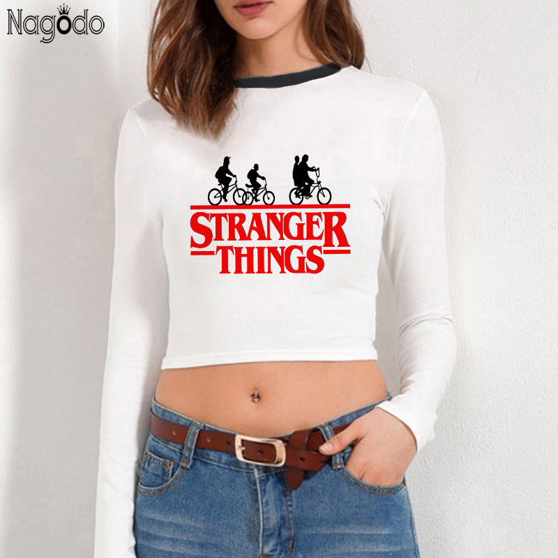 Nagodo Stranger Things T Shirt Women 2019 Graphic Friends Letter Tshirt Streetwear Long Sleeve Top Sexy Clothes Tee Shirt Femme