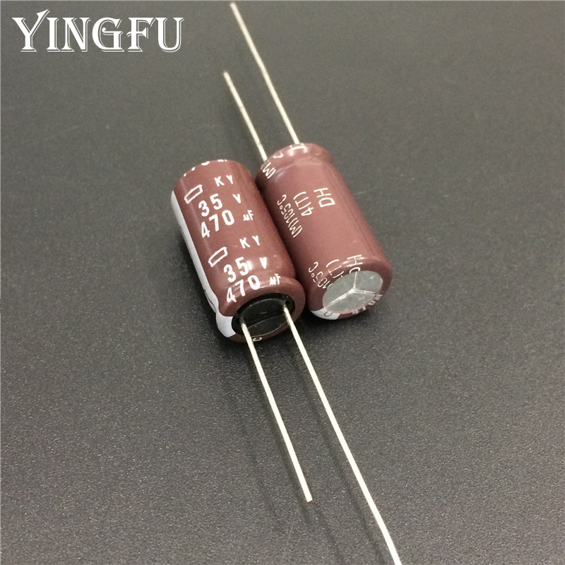 10pcs 470uF 35V NIPPON NCC KY Series 10x20mm Low Impedance Long Life 35V470uF Aluminum Electrolytic Capacitor