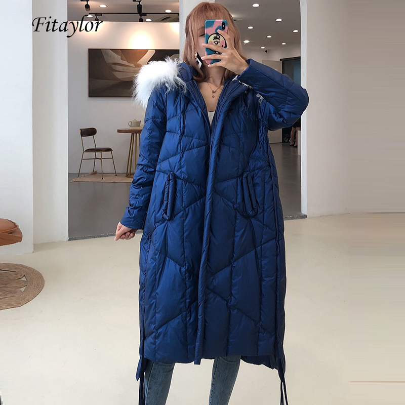 Fitaylor Winter Long Down Jacket Women Hooded Ultra Light White Duck Down Parka Warm Large Real Fur Collar Snow Street Outwear
