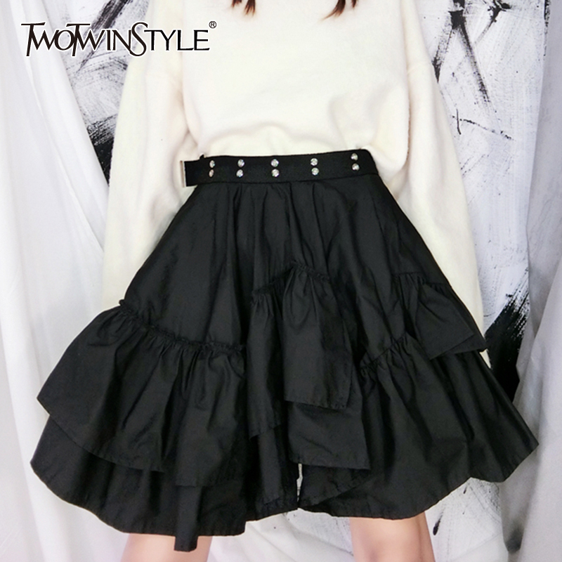 TWOTWINSTYLE Casual Hollow Out Women Skirts High Waist Patchwork Ruffles Mini A-Line Skirt For Female Fashion 2020 Clothing Tide