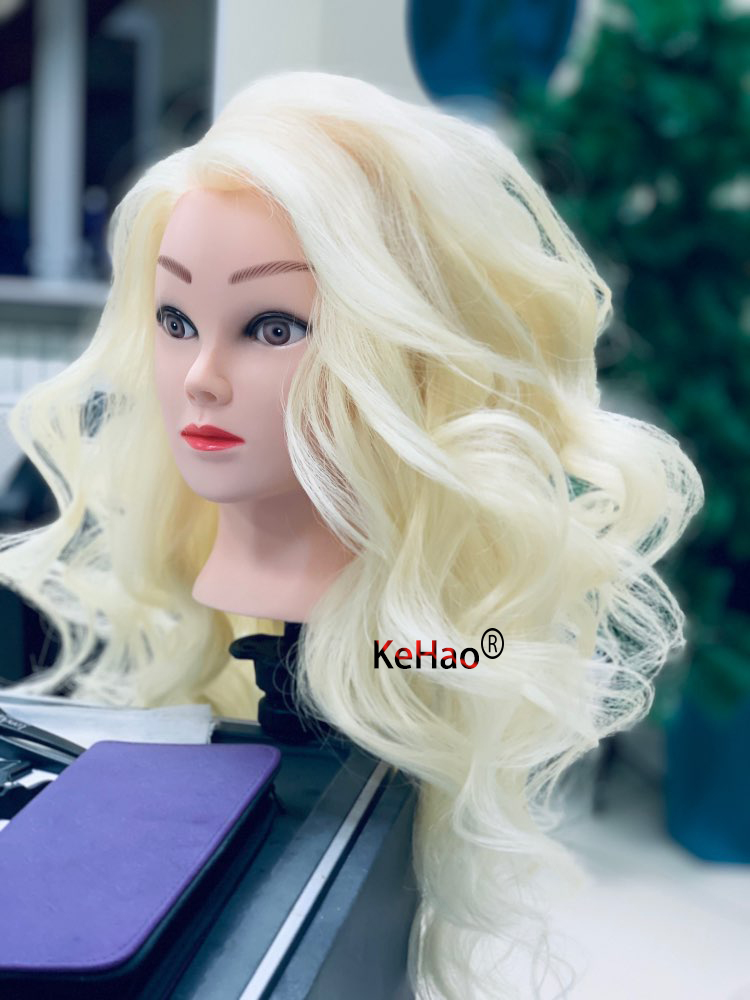 Training Head With 85% Blonde White Real Hair Can  Practice Curl Hot Iron Straighten Hairstyle Doll Mannequin Head Hairdresser