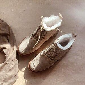 Image 2 - BeauToday צמר שלג מגפי נשים אמיתי עור עגול הבוהן שרוכים פלטפורמת חורף גבירותיי קרסול אורך נעליים בעבודת יד 03281