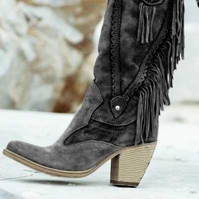 Estilo étnico feminino meados de tubo de salto alto elegante botas de pele quente camurça botas longo franja inverno bordado boot moda