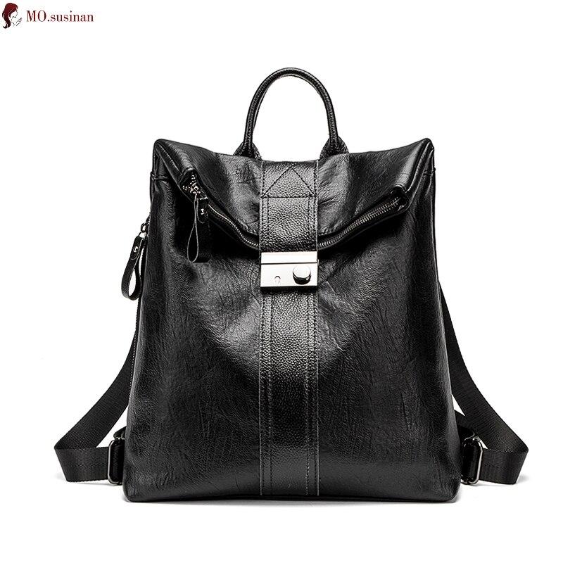 Женский рюкзак из натуральной кожи, рюкзак 2019, простой модный большой рюкзак для путешествий, женский водонепроницаемый Противоугонный