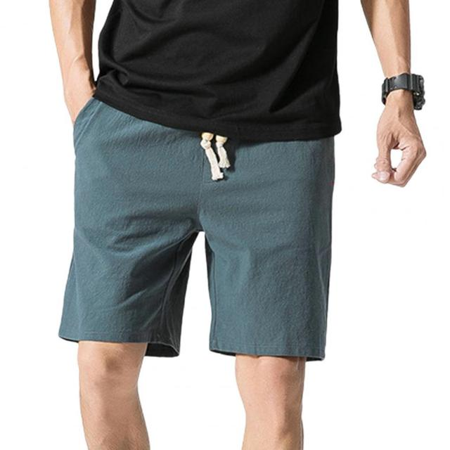 Men Beach Shorts Plus Size Casual Solid Color Drawstring Summer Loose Mid Rise Pockets Sweatpants Fitness Board Shorts 1