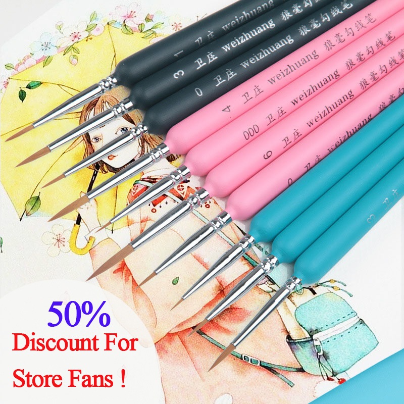 10Pcs Hook Line Paint Brushes Wolf Hair Watercolor Brush Artist Fine Oil Paintbrush For Art Gouache School Supplies Stationery(China)