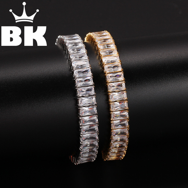 Vierkante Cz Tennis Armband 9.5 Mm Breedte 8 Inch Nooit Vervagen Rvs Micro Verharde Kubieke Zirkoon Hip Hop Mens armband Sieraden