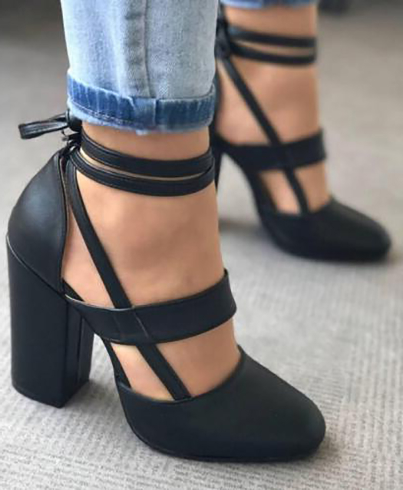 ASHIOFU Handmade Women Thick Heel Pumps Shoelace Ankle Strap Party Prom Dress Shoes Fashion Evening Club Court Shoes