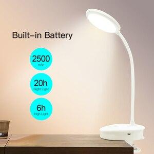 Image 5 - Usb Oplaadbare Led Klem Bureaulamp Zwanenhals Touch Dimmen Clip Op Leeslamp Voor Boek Bed En Computer 3 Kleur modi