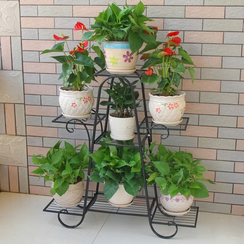 Multi-storey Indoor Household Balcony Decorate Iron Art A Living Room Province Space Flowerpot Landing Type Green Luo