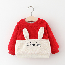 Baby Girls Clothes Autumn Plus Velvet Thicken Warm Tops Cartoon Rabbit Hooded Sw