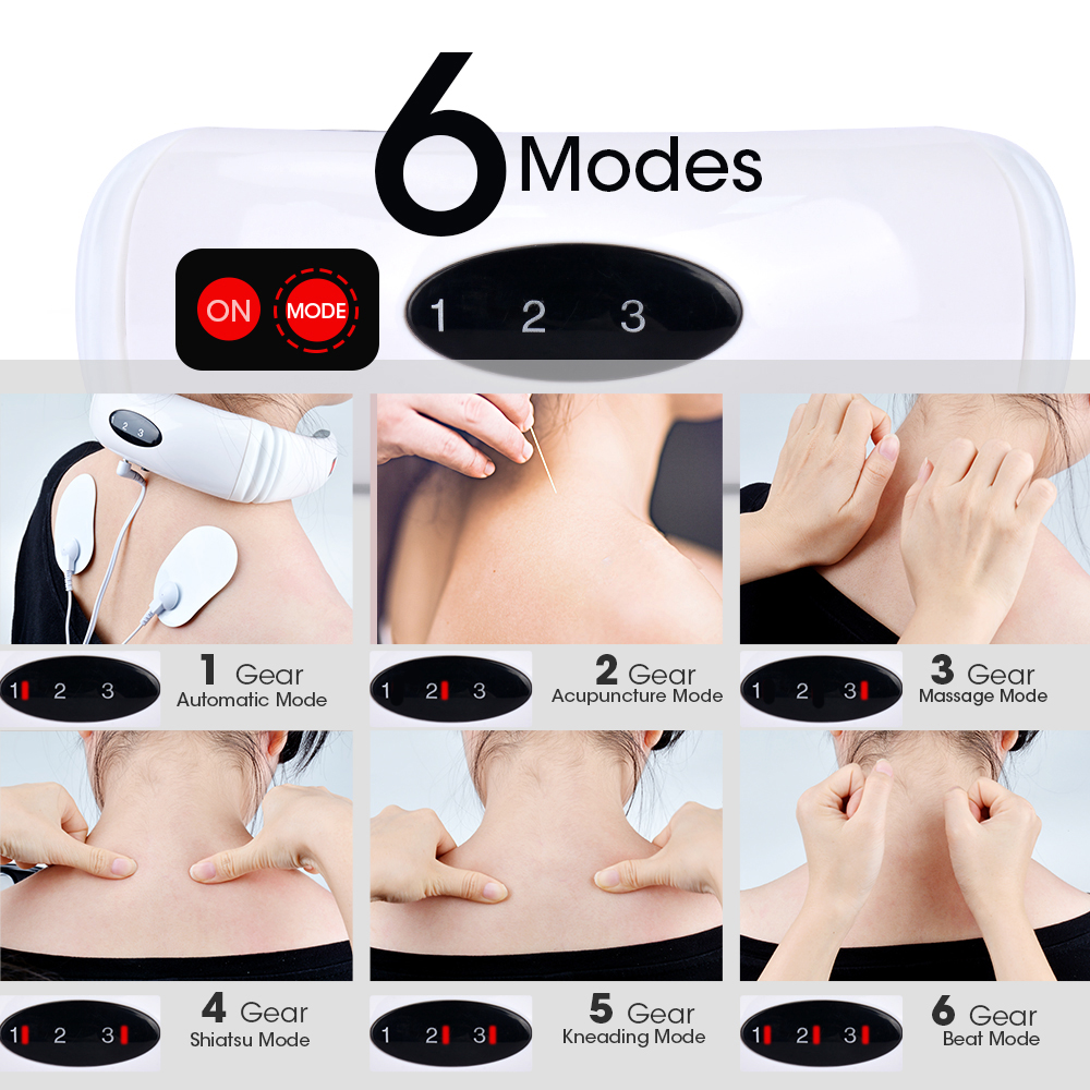 Rechargeable /Battery Electric Neck Massager& Pulse Back 6 Mode Power Control Infrared Pain Relief Neck Physiotherapy Instrument 4