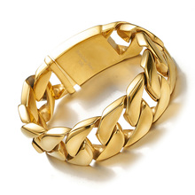 Granny Chic Shiny Glossy Gold 316L Stainless Steel Mens Bracelets 26MM Wide Chain Jewellery Accessory Man Bracelet