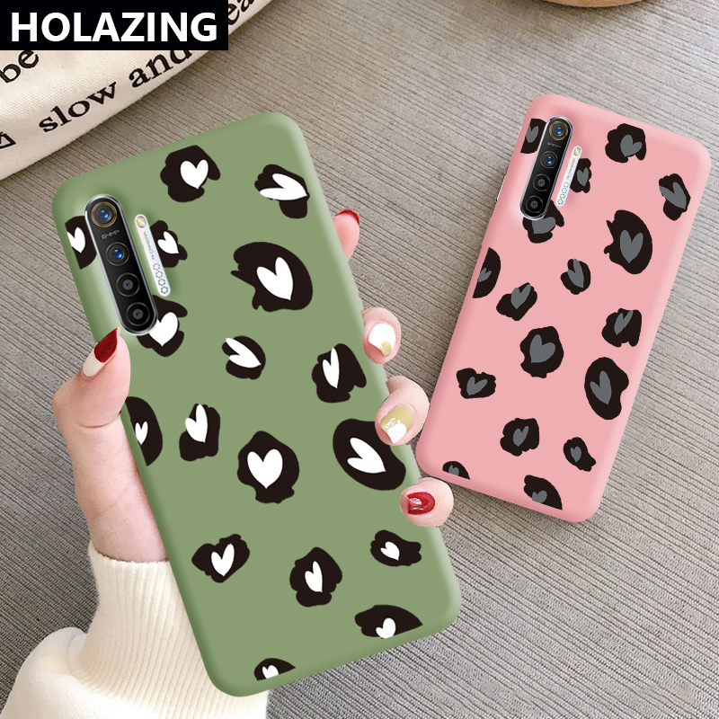 for <font><b>OPPO</b></font> Realme X2 Pro XT F11 F7 F5 <font><b>F9</b></font> Color TPU Cute Leopard Print Lovely Heart Soft Silicone Cover image