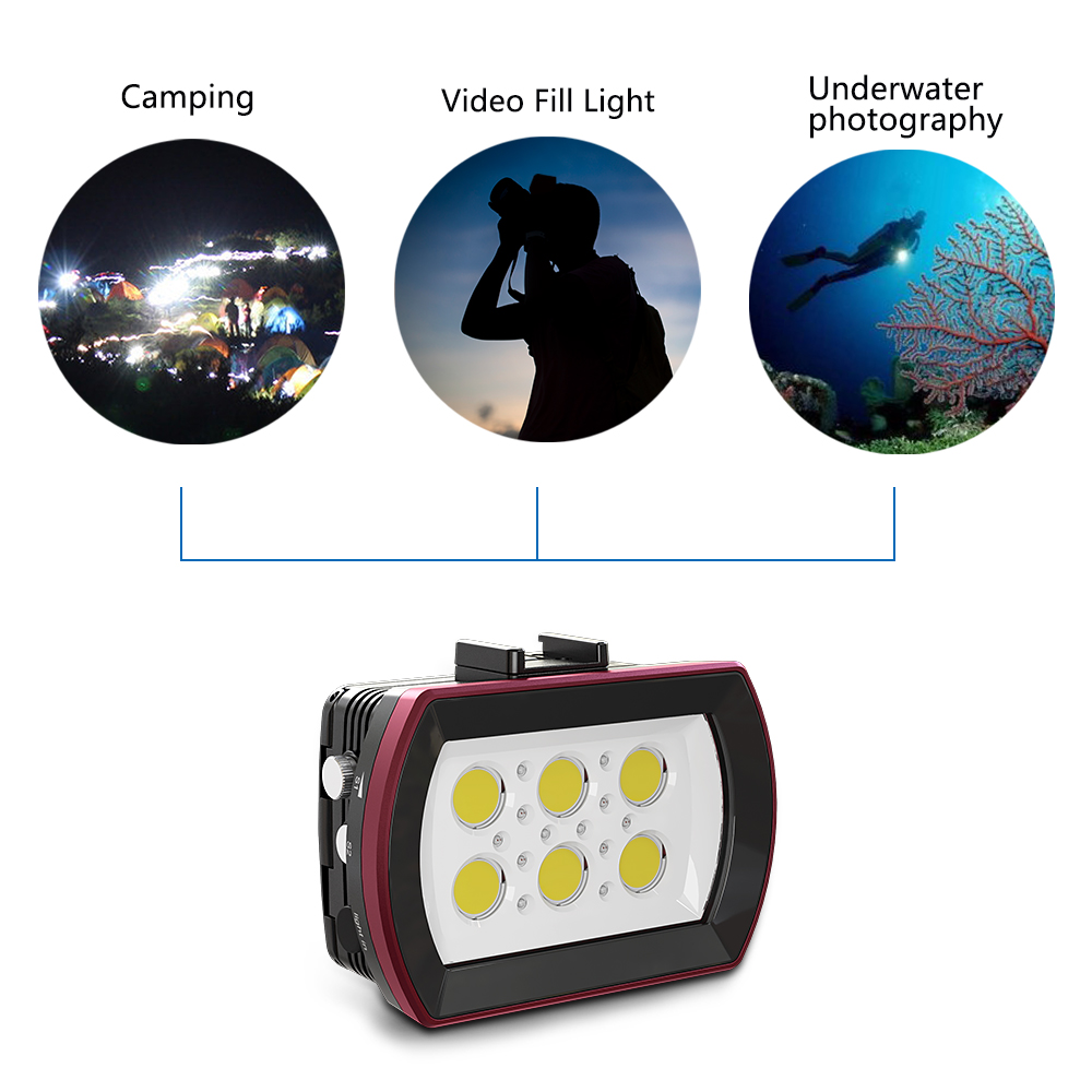 Photography SL 22 LED Diving Light Underwater Fill in Lamp 6LEDs Aluminum Alloy 40M Waterproof with White Lights Max. 6000LM - 4