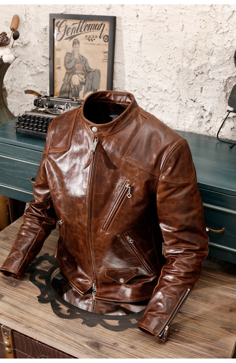2020 Free Shipping.Quality Motor Biker Style Oil Wax Cowhide Jacket,cool Slim Oil Wax Genuine Leather Coat,vintage Warm Coat.RL