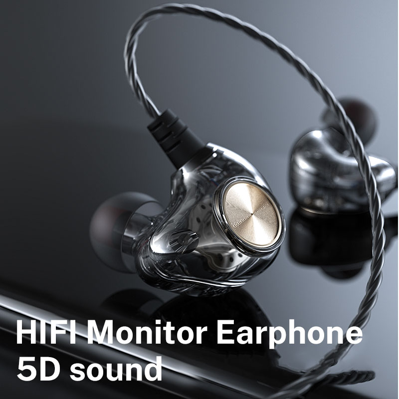 3.5mm Wired Headphones 5D Bass For Xiaomi Hybrid Pro Piston 3 Transparent Sport Earphones For Sony Redmi Note 8 Pro наушники